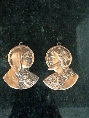 """Pair of Vintage Jesus Christ & Mother Mary Copper Religious Hanging Art 5"""""""