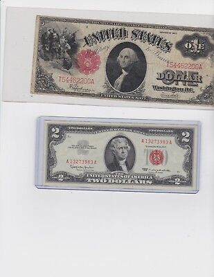 Fr 39 $1 United States Note and 1963 $2 Red Seal US NOTE lot of one each
