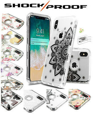 Apple iPhone XS Max Clear Design Case Hybrid Armor Shockproof Rubber TPU Cover