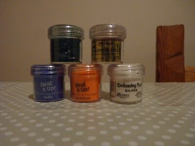 5 x Embossing powders, heat it up and others, new (lot 5)