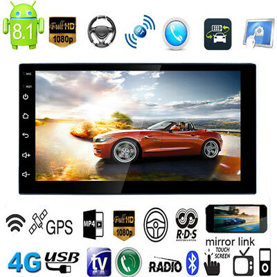 HD Android 8.1 Double 2Din 7in Quad Core GPS Navi Car Stereo MP5 Player FM Unit