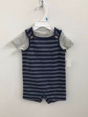 Macy's First Impressions Baby Boy Shortalls Navy Blue 3-6 Months Front Pocket