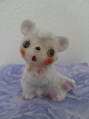 Vintage Porcelain Ceramic Pink And White Spaghetti Teddy Bear Figurine