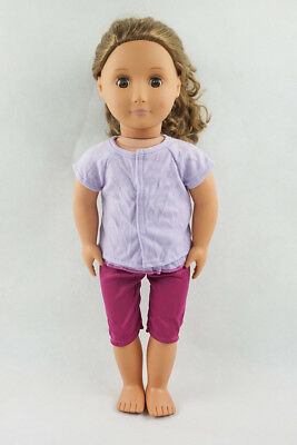 Purple Short Sleeve T-shirt With Pants Doll Clothes Fit For 18'' American Girl