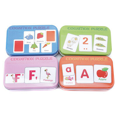 Development Cognition Puzzle Iron Box Cards Matching Educational Toy one