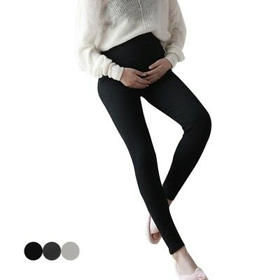 Maternity Adjustable Soft Pants High Waist Over Belly Leggings Winter Trousers