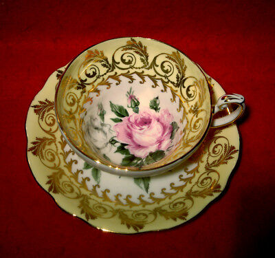 E.b.foley Yellow Cup & Saucer Pink White Roses Gold Made In England