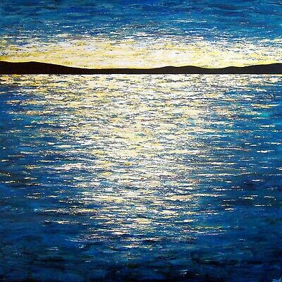 """Large Original abstract Seascape painting  """"Marvelous Reflection"""",48x48x1.5"""""""