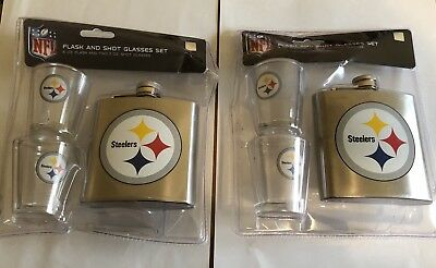 A Lot Of (2) Nfl Pittsburgh Steelers Flask And Shot Glass Set (Nwt)