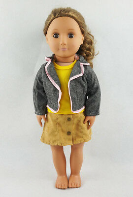 Fit For 18'' American Girl Set Vest Top With Mini Skirt Coat Jacket Doll Clothes