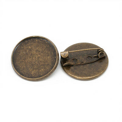 22mm Antique Bronze Circular Brooch Badge Setting Blanks Fits 20mm Cabochon