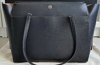 1d02a94cfd8 TORY BURCH LARGE Parker Tote Handbag Black Leather Tote MSRP  298 ...
