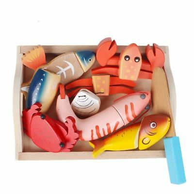 Baby Kids Wooden Kitchen Toys Cutting Bread Seafood Fish Food Set Education Toys