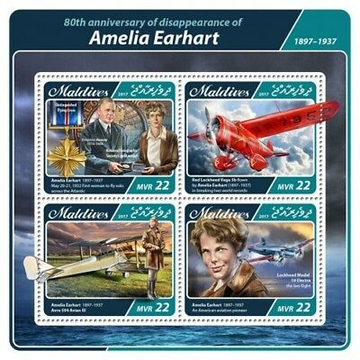 Z08 IMPERF MLD17406a MALDIVES 2017 Amelia Earhart MNH ** Postfrisch