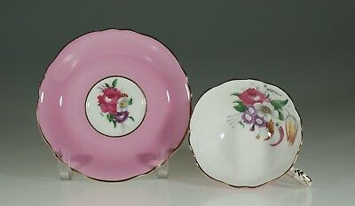 Paragon Pink with Floral Spray Tea Cup and Saucer, England c. 1939