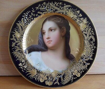 19Th Century Royal Vienna Jewelled Porcelain Cabinet Plate Judith Signed Gorner