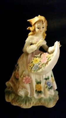 "Vintage Lefton China Girl Figurine Holding Flowers with Apron #KW133B 6 1/4""h"