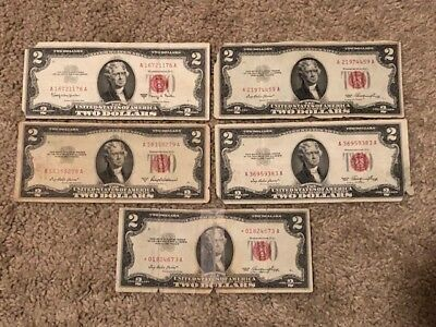 5 ✯1953 Two Dollar LOT OF 5 Red Seal ✯W / STAR NOTE ✯ OLD Currency✯ LOT OF 5