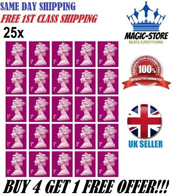 Royal Mail 1St 2Nd Class 25 X 1P Postage Stamps Self Adhesive No Unfranked