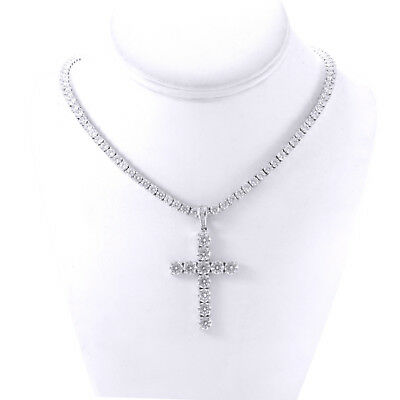 Mens Silver Finish Iced Out Lab Diamond Cross 4mm Tennis Chain 1 Row Necklace