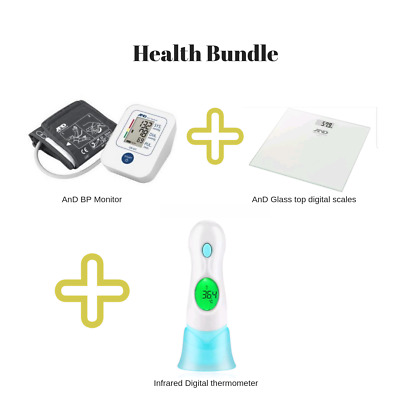 A&D Blood Pressure Monitor + Digital Scales+ Infrared ear/forehead thermometer