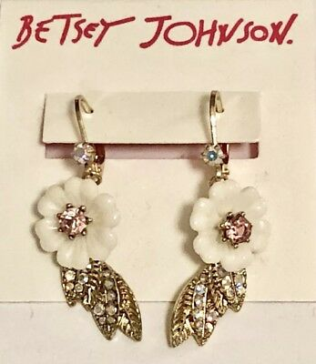 39ccd976c563a BETSEY JOHNSON PINK white flower jacket crystals mint green earrings ...