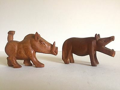 Vintage Mid Century Hand Carved Teak Zambia African Hippo & Warthog  Pair Of 2