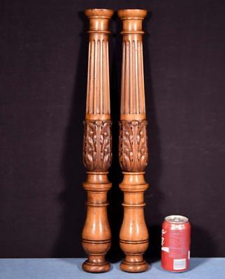 *Pair of French Antique Solid Wanut Posts/Pillars/Columns Salvage