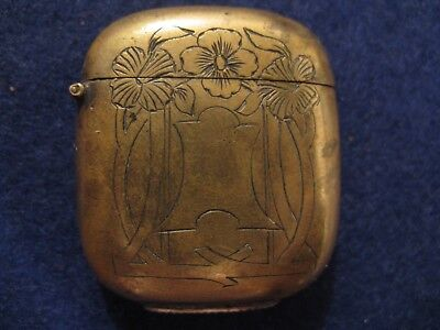 Small Brass Match Safe......nice Floral Etching....no Monogram