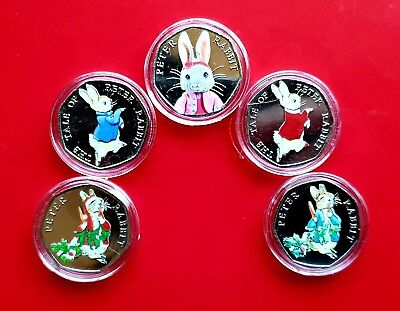Beatrix Potter Peter Rabbit 50p Coins Uncirculated Coloured coins inc Christmas.