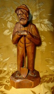 """OLD MAN WITH SHOVEL WOOD CARVING SIGNED by ARTIST JUBY 11 1/2"""" CANADA"""