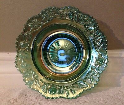 VINTAGE Imperial-Glass 1950-70s; Iridescent HELIOS-GREEN Covered-Butter BASE