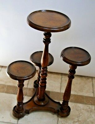 Vintage Turned Oak Four Level Plant Stand  multi height round top tri base