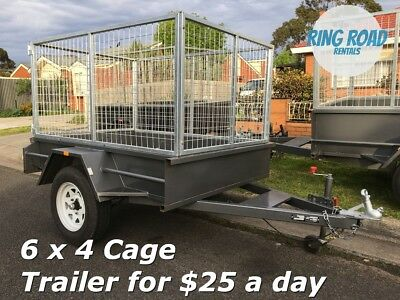 6x4 CAGE TRAILER HIRE FOR ONLY $25.00 A DAY - Heaps of trailers for rent !!!