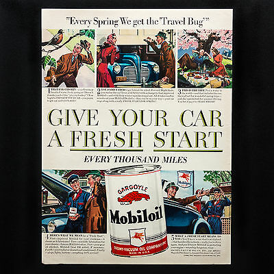1941 MOBIL OIL Give Your Car Fresh Start Travel vintage print ad large magazine