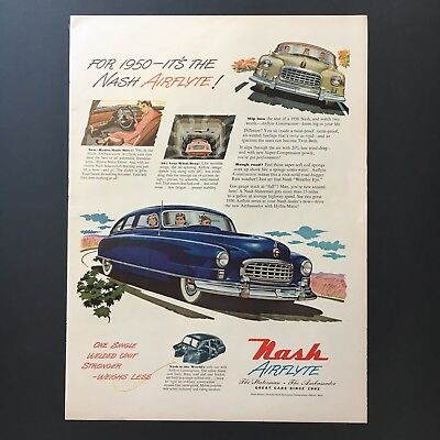 1949 NASH AIRFLYTE Blue Sedan Car vintage print ad large magazine