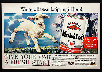 1941 MOBIL OIL Fresh Start Spring Lamb vintage print ad 2 page large magazine