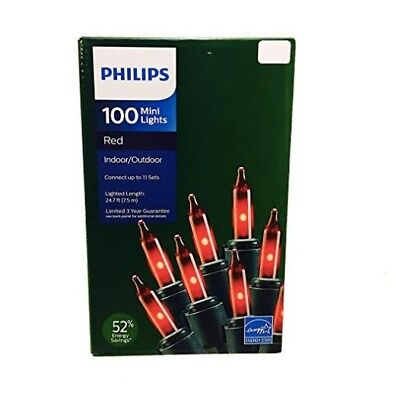 Philips 100 Red Mini String Lights Energy Star 24.7 ft on Green Wire Christmas