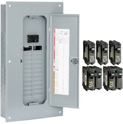 Homeline 100 Amp 24-Space 48-Circuit Indoor Main Breaker Load Center With Cover