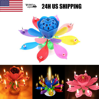 3PCS Birthday Cake Candle Musical Lotus Flower Floral Rotating