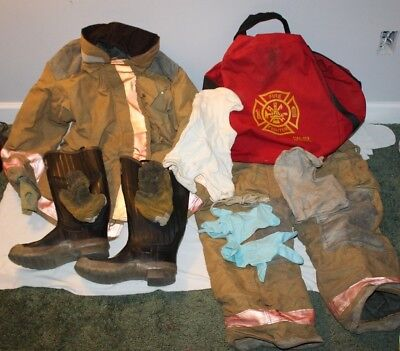 Apparel Firefighter Turnout Gear Coat Pants Boots Gloves Hood Authentic Used