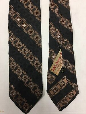 Vintage Silk Skinny Necktie, Fifth Avenue Hat Shop, Detroit, MI, Black/Brown 53""