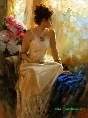 Pino Daeni Woman Hand-painted Art Oil painting Wall Decor Canvas 24x36 inch #103