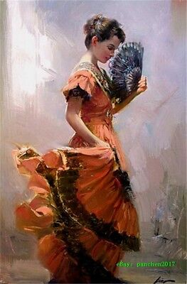 Pino Daeni Woman Hand-painted Art Oil painting Wall Decor Canvas 24x36 inch #69