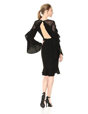 New Bcbg Delaney Black Dress Size 10 W Lace Open Back Dramatic