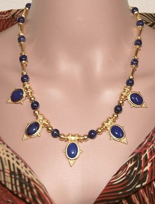 "Fall Sale! Egyptian Lapis Lazuli Statement Necklace 20""- Museum Store Collection"