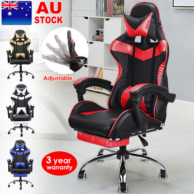 Gaming Office Chairs Computer Adjustable Back Support Seating Racer Black Chair