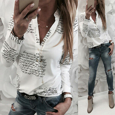 Fashion Ladies OL Long sleeve V-neck Blouse Button Letters Print Casual Top