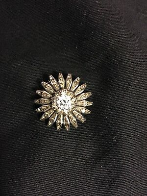 Quality Antique Victorian/ Edwardian Paste Flower Silver Brooch, Good Condition