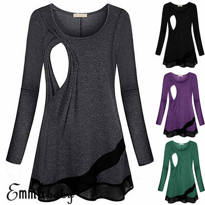Women Pregnant Maternity Clothes Nursing Tops Breastfeeding Solid Shirt Blouse